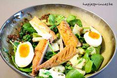 linzensalade met asperges en gerookte makreel