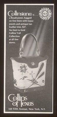 1970 Collinsiana roadrunner purse print ad