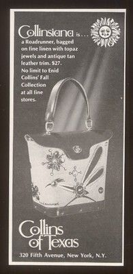 1970 Enid Collins roadrunner purse photo print ad