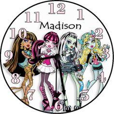 This wall clock has a clear plastic rim. Monster High Girl's Wall Clock - Fangs are Fantastic. Personalized Clocks, Monster High, Inspired, Unique Jewelry, Wall, Inspiration, Etsy, Vintage, Design
