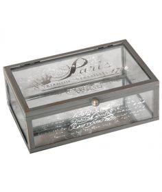 Mathilde M - Vintage decorative glass box - rectangular Shabby Chic Storage Boxes, Glass Boxes, Dose, Vintage, Decorative Glass, Home Decor, Decoration, Check, Manualidades