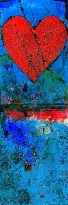 "Large Red Heart Painting, Blue Mixed Media Art, Original Textured contemporary Art, ""Heart's Desire"" by Kathy Morton Stanion EBSQ - Herz Heart Painting, Painting Art, I Love Heart, Jolie Photo, Art Plastique, Medium Art, Mixed Media Art, Heart Shapes, Art Projects"