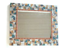 Blue and Tan Mosaic Mirror by GreenStreetMosaics on Etsy, $85.00