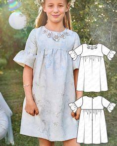 Flower Girl: 4 NEW Patterns for Children Burda Sewing Patterns, Sewing Tutorials, Dress Patterns, Burda Style Magazine, Diy Clothing, Girls 4, Holiday Fashion, Cool Patterns, Business Fashion