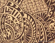 Fabric- Polynesian Tattoo and tapa. Lavalava Fabric. By HawaiianFabricNBYond.Etsy.com