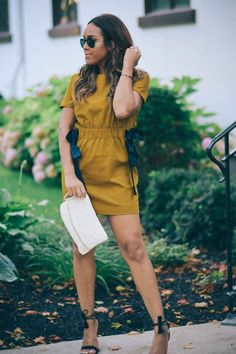 zara mustard dress + fall outfit inspiration + casual street style look +