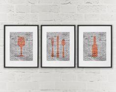 Impresiones de arte moderno sala comedor  cocina por DaphneGraphics