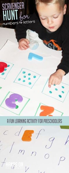 A learning scavenger hunt for preschoolers. Practice uppercase and lowercase alphabet recognition, along with counting while going on a hunt! Learning Letters, Alphabet Activities, Toddler Activities, Learning Activities, Outdoor Activities For Kids, Hands On Activities, Toddler Learning, Kids Learning, Toddler Play