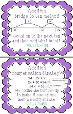 This series of three posters illustrates three common methods of addition.  The bridge to ten method, the jump strategy and the compensation method. Great for kick starting thinking before mental tasks and addition activities.