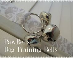 Dog Potty Trainer, Paw Bells In Grey and White Damask, Instructions included