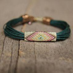 Greeen tribal bracelet linen bracelet multistrand by Naryajewelry