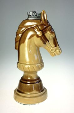 Vintage, Chess Knight, Table, Cigarette Lighter.  Item: Table Lighter  Model: Chess Knight Horse Head  Material: Ceramic Art Pottery  Dimensions: 7.5 H  Condition: Excellent. Needs new flint  Please See Photos.