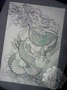 I honestly like the color styles, lines, and fine detail. T…- I honestly like the color styles, lines, and fine detail. This is certainly a good idea if you really want a - Koi Tattoo Design, Japan Tattoo Design, Tattoo Design Drawings, Tattoo Sketches, Dragon Japanese Tattoo, Japanese Tattoo Art, Japanese Tattoo Designs, Japanese Sleeve Tattoos, Dragon Tattoo Sketch