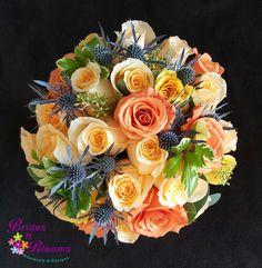 Roses, Thistle & Seeded Eucalyptus Brides Bouquet