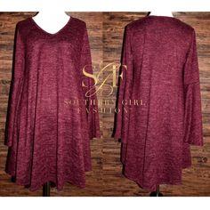 Southern Girl Fashion Dresses - SWING DRESS Bell Sleeve Mini Draped Sweater Tunic