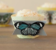 Embossed Butterfly Cupcake Wrappers. Make It Now with the Cricut Explore machine and Cuttlebug in Cricut Design Space.