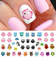 """Owl waterslide nail decals. Now that's a colorful and cute owl. Don't you agree? 5 1/2"""" x 3"""" sheet."""