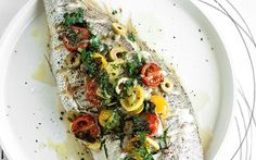 Whole roast snapper with olives, cherry tomatoes, lemon and oregano recipe - By FOOD TO LOVE, Growing up in Italy, Luca Villari's home was always filled with the delicious aroma of his mother's cooking. Here he presents one of her classic dishes.