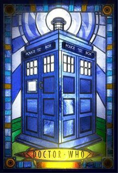 TARDIS stained glass - I think this is from a short made by the Dave (Digital Animation and Visual Effects) School