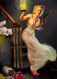 "Gil Elvgren - ""Looking for Trouble"" 1950"