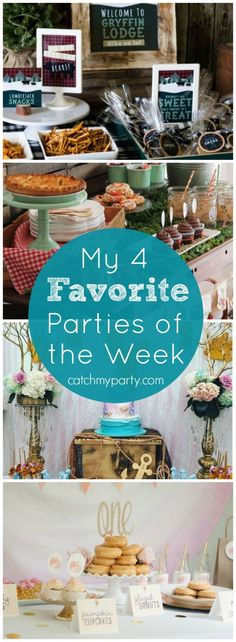 My favorite parties this week: a lumberjack 1st birthday, a farmer's market baby shower, a mermaid party, and a donut first birthday   Catchmyparty.com