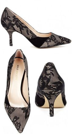 Black Lace Pumps <3 Absolutely Adorable, and not too high of a heel!