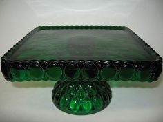 Square hunter green Glass cake serving stand plate platter pedestal raised tray | eBay