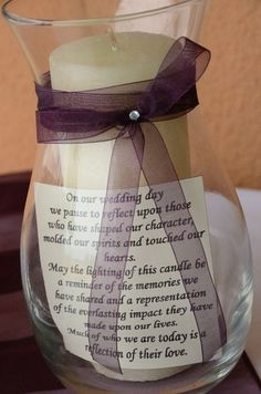 Sweet idea to remember a lost loved one at a wedding.