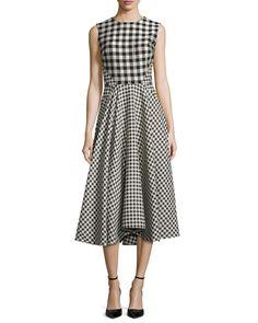 Sleeveless Gingham Paneled Dress