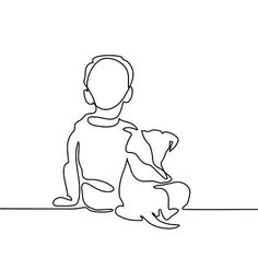 Illustration of Boy hug dog. Continuous line drawing. Vector illustration vector art, clipart and stock vectors. Abstract Drawings, Easy Drawings, Animal Line Drawings, Continuous Line Drawing, Steel Art, Arte Pop, Illustration Art, Design Illustrations, Minimalist Art