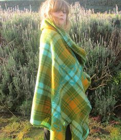 Wool blanket, greens, mustard with teal/ turquoise highlights Blanket Stitch, Wool Blanket, Plaid Couch, Turquoise Highlights, Central Otago, Lake Tekapo, Bed Couch, Plaid Scarf, Mustard