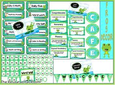 Free Frog Classroom Decor! Daily 5, CAFE, Word Wall, and Welcome Banner!