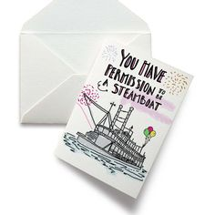 Birthday Card- Friendship Card- You Have Permission To Be A Steamboat- Glasgow Birthday