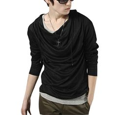 Amazon.com: Allegra K Men Long Sleeve Pullover Drawstring Casual Hoodie Coat: Clothing