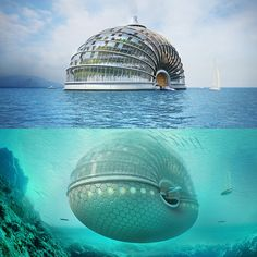 """""""Russian architect, Alexander Remizov, is the mastermind behind the project, he believes that his floating """"slinky,"""" which can hold up to 10,000 people can have multiple uses, including a safe house for disaster relief. The prototype's main materials are timber, steel ,and high-strength ETFE plastic and it is built to handle land and/or water."""""""