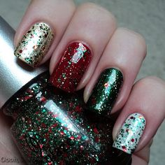 China Glaze 'Tis The Season To Be Naughty And Nice - Part II - Review Party Hearty with top coat on: Snow (pink), Jolly Holly (ring), Phat Santa (middle) and Midnight Kiss (index