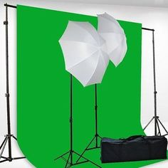 "8ft Height 10ft Wide Backdrop Support System 6 x 9 Feet Chromakey Green Screen 2x 45watt bulb (equal 400watt output) 2 x Ac Adapter 2 x 33"" Shoot Through umbrealla 2 x 7ft Lightstand Carrying case for"