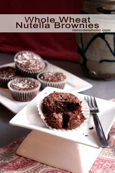 Whole Wheat Nutella Brownies Recipe!  remodelaholic.com #brownies #recipe #Nutella