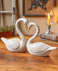 Add a sentimental feature to your display with the Swan Couple Decorative Statue. It features 2 of these elegant birds facing each other as the curve in their necks for Table Fountain, Peacock Decor, Panel Wall Art, Country Farmhouse Decor, Inspirational Wall Art, Affordable Home Decor, Statue, Mural Art, Home Decor Inspiration