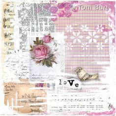 Love - shabby cottage chic mixed media art. Love art, pink rose, love quote. Shabby home decor and wall art.