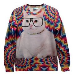 This sweater is great! Pullover 3d Design Glasses Cat Print White Sweatshirt