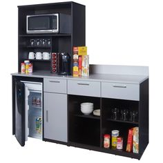"""Take-a-Break Complete Coffee Break Lunch Room Furniture group the INSTANT way to create a great Lunch Break Room, - Includes 1 front-access Fridge Cabinet whith 1 drawer/1 door + 1 multifunctional Appliance Hutch + 1 easy-access Open Prep Station whith 2 drawers - Overall Dimension 75""""H x 72""""W x 24""""D / Product Weight 317 lbs - Colors emulate European clean transitional contemporary fashion trends for offices - INSTANT installation, just remove from carton, setup in your break room, and enjoy…"""