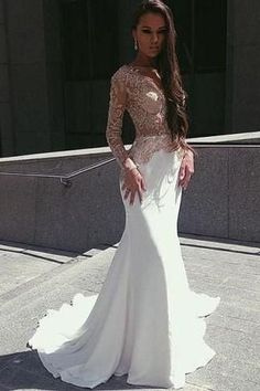 White Mermaid Long Sleeves Seen Through Long Prom Dresses,PM0192