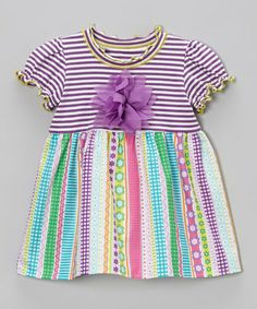 Take a look at this Lavender Floral Stripe Babydoll Top - Toddler & Girls by SILLY MILLY on #zulily today!