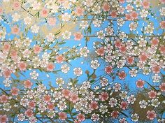 Japanese paper - pale little flowers on bright blue background
