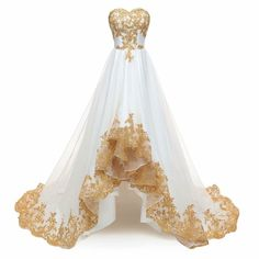 Ball Dresses, Bridal Dresses, Ball Gowns, Party Dresses, Applique Wedding Dress, Applique Dress, Dress Wedding, Robes Quinceanera, Gold Evening Dresses