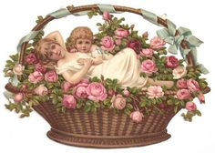 An poster sized print, approx (other products available) - Two children in a basket of flowers on a Victorian scrap. <br> circa - Image supplied by Mary Evans Prints Online - Poster printed in the USA Rose Basket, Flower Basket, Fine Art Prints, Framed Prints, Canvas Prints, Romantic Roses, Vintage Ephemera, Vintage Cards, Collage Sheet