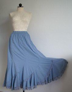 Vintage Swiss Dot Hippie Boho Blue Lined Lace Trim Peasant Skirt, $30.00