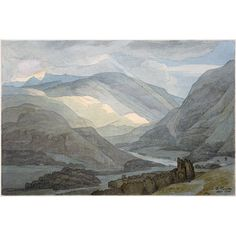 Watercolour - Rydal Water by Francis Towne 1789