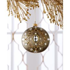 Silverado Embellished Antiqued-Gold Metallic Christmas Ball Ornament ($48) ❤ liked on Polyvore featuring home, home decor, holiday decorations, backgrounds, gold, christmas home decor, gold christmas tree ornaments, gold home accessories, glass ball ornaments and gold christmas ball ornaments